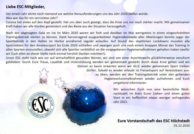 Weihnachten ESC Höchstadt Eislaufen Schwimmen